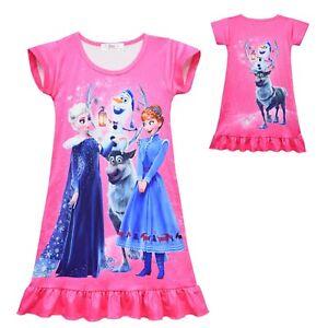 Frozen Elsa Anna Girls summer dress nightie pjs pyjamas size 2-8 au stock
