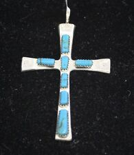Zuni Indian Pendant Cross Larger Turquoise Inlay Sterling Silver Marilyn Iule
