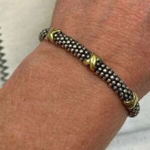Lagos Signature Caviar Beaded X Bracelet- Sterling Silver and 18KT Yellow Gold