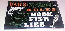 Dad's Fishing Rules Wooden Plaque Fathers Day Gift