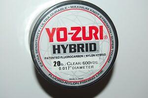 yo zuri fluorocarbon nylon hybrid 20lb lo-vis clear 600yds spool fishing line