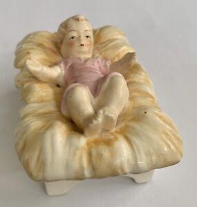 "Vintage Baby Jesus Manger Figurine 3.5"" x 2.5 x 1.5"" Made in Japan"