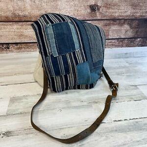 Vintage Ralph Lauren Patchwork Cotton Canvas Messenger Bag Leather *Sample*