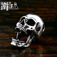 Totenkopf Edelstahl Halskette Massiv Silber Anhänger Skull Schmuck Herren Biker
