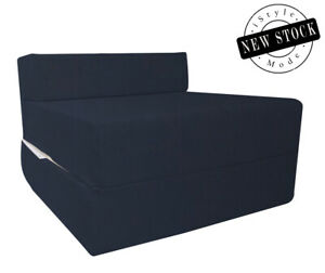 Navy Single Z Bed Chairbed Single Size Fold Out Chairbed Foam Folding Guest Sofa
