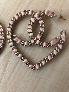 Chanel Gold Pink Chain XL Logo Large Dangle Drop Statement Earrings