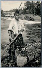 MENOMINEES INDIAN CHIEF OSHKOSH ANTIQUE REAL PHOTO POSTCARD RPPC