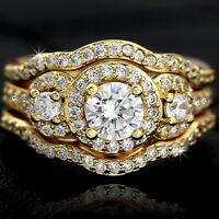 18K GOLD GF VICTORIAN 3-STONE LUXURY DIAMONDS SOLID ENGAGEMENT WEDDING RINGS SET