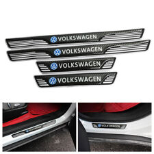 X 4 VOLKSWAGEN Carbon Fiber & RB Car Door Scuff Sill Cover Panel Step Protector