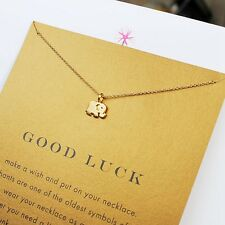 18K Gold Plated Dainty Lucky Elephant Good Luck Charm Wish Necklace