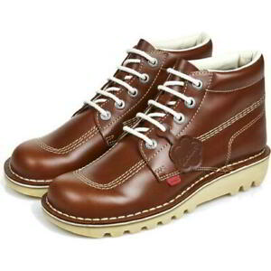 Kickers Kick Hi M Core Mens Brown Leather Ankle Boots Shoes Size 6-11
