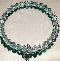 Memory Wire Wrap Bracelet With Green, Aqua Marine and Clear  Color Glass Beads