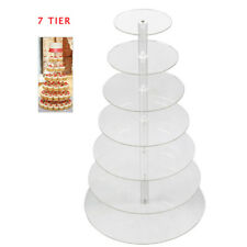 7Tier Crystal Clear Circle Round Acrylic Cupcake Tower Stand Dessert Holder USA
