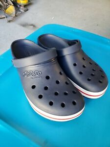 Mens Classic Crocs sz12 NAVY BLUE RED STRIPE