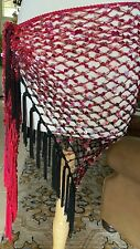 Bellydance Hip Scarf Sharifwear Crochet Fishnet Red to Black Ombre