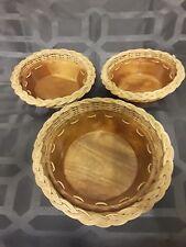 Set of 3 Unique Vintage Wood & Wicker Serving Bowls