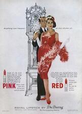 1962 DuBerry PRINT AD Great Vintage Decor Grandfather Clock Couple Woman in Red