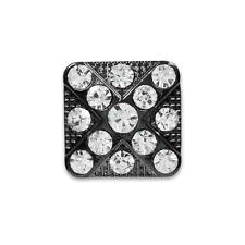"Rhinestone Button Crystal  Vintage Square Studded X Style Design 3/4""  Gunmetal"