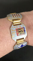 Vintage Enamelled Articulated Bracelet Souvenir Monaco Nice Collectable 6Inches