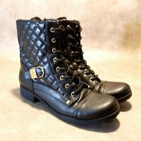 G by Guess Womens Byson Sz 9.5 M Black Lace Up Quilted Combat Boots