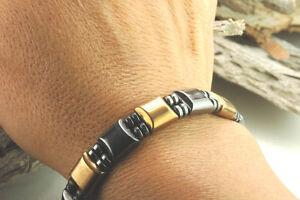Men's Women's Double Magnetic Bracelet - Black and GOLD Magnetic Hematite Stone