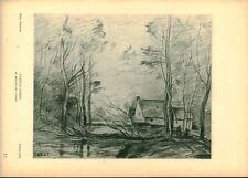 Gravure ancienne photo Hypérion Lithographie C. Corot moulin Cincy issue livre