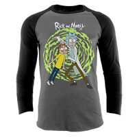 Official Rick and Morty - Spiral Baseball shirt Portal Charcoal Medium / Small