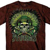 2019 Sturgis Shirt Skeleton Indian Black Hills Rally Motorcycle Russet T #1774