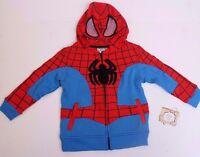 Kids Spider-Man Marvel  Hoodie Sweatshirt Size 2T 3T 4 7X - NWT