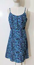 90s Y2K 2000s Style Slip Dress Sz 10 S Turquoise Animal Print Grunge Strappy
