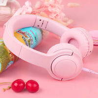 Kids Wired Over Ear Headphone Stereo Safe Volume Headset W/ Mic for  *