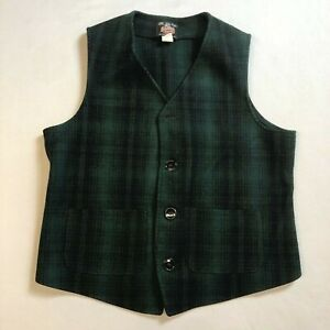 Johnson Woolen Mills Green Black Plaid Button Front Wool Vest Medium USA Made