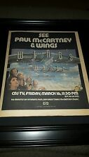 Paul McCartney And Wings Rare 1979 CBS TV Special Promo Poster Ad Framed!