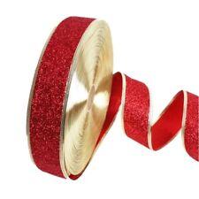 2M Christmas Ribbons Glitter Ribbon Holiday Decor Xmas Gift Wrapping Ornaments