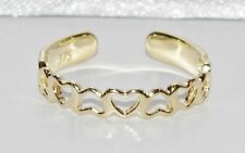 NEW Solid 9ct Gold Adjustable Toe Ring - Love Heart Pattern