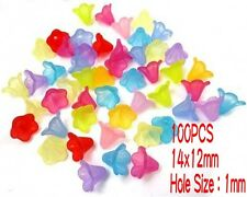 100 Mixed Bell Trumpet Flower Frosted Acrylic 14x12mm Beads Cap