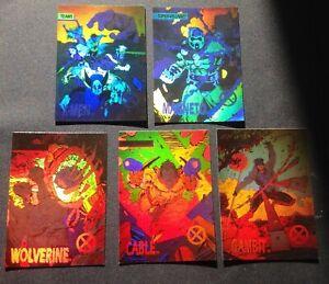 1992 Marvel X-Men Series 1 Trading Cards COMPLETE HOLOGRAM Chase Set. Jim Lee