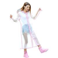 Women Girl EVA Transparent Raincoat Hooded Clear Waterproof Clear Rainwear Out