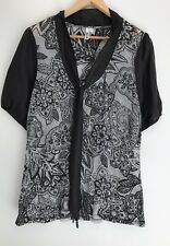 LOOBIES STORY NZ stunning Printed Silk Trim Top Size 16 14