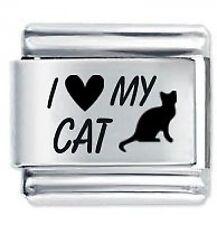 I LOVE MY CAT * Daisy Charms Fits Nomination Classic Size Italian Charm Bracelet