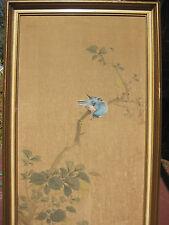 Japanese Painting on Silk, singing bird, flower & spider, Kamijima Sosui上島素水