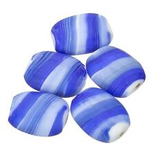 Matt Azul Guijarro plana barril Candy Rayas Perlas De Vidrio 18mm Paquete de 5 (C18/1)