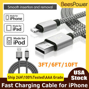 3/6/10FT Fast Charge Cable Data for iPhone 6 7 8 Plus 11 12 iPad Heavy Duty Cord
