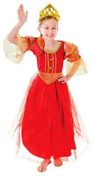 Girls Red Gold Tudor Princess Book Week Fancy Dress Costume Outfit New 4-6-8