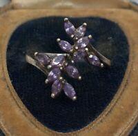 Vintage Sterling Silver Ring 925 Size 8.5 NV Amethyst Leaf Flower