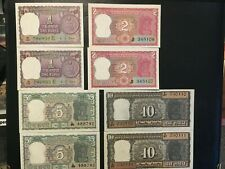 INDIA  (8 Notes)  1, 2, 5, 10 Rupees  -- UNC  -- Consecutive serial #'s  1973