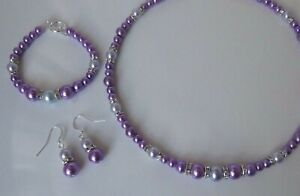 Purple & Lavender Pearl Necklace Bracelet and Earring set
