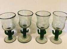 4 Margarita Wine Glasses Cactus Stem Green Saguaro Handmade in Mexico Handblown