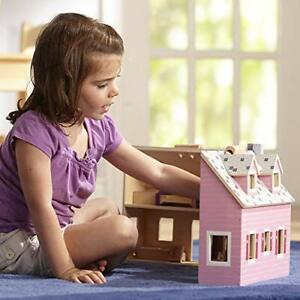 Melissa  Doug Fold  Go Mini Dollhouse Portable Wooden Dollhouse, Working Door