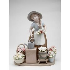 "New Multi Color Porcelain ""Girl With Flower Baskets"" Pitcher,Figurine-10418-Na is"